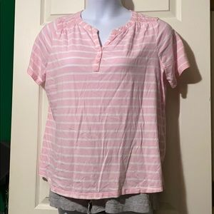 Kim Rogers Pink Striped SS top